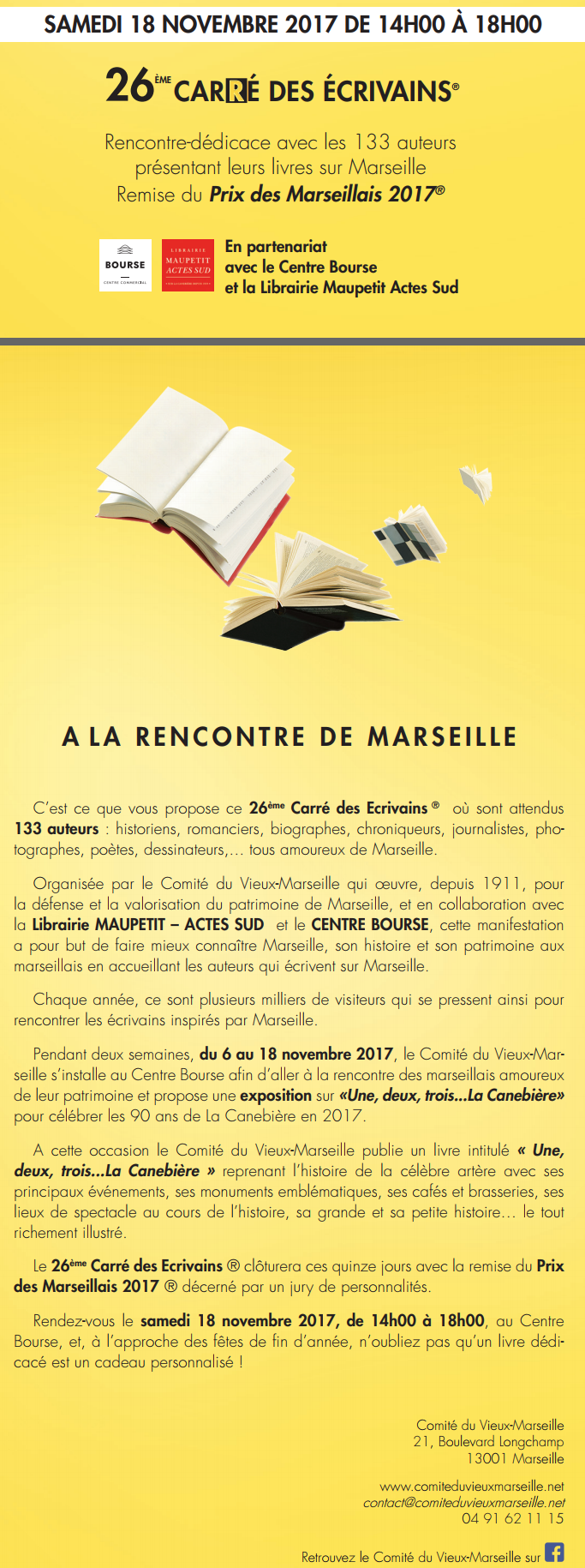 26ème Carré des écrivains (2017) au centre Bourse à Marseille