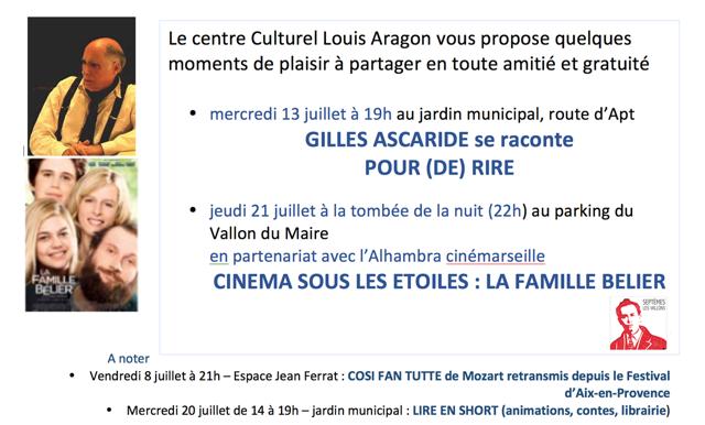Gilles Ascaride se raconte pour (de) rire, Septèmes les Vallons, juillet 2016