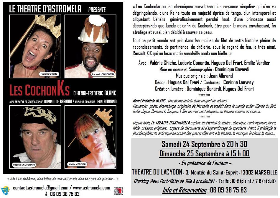 Les Cochonks de Henri Frédéric Blanc au théâtre du Lacydon à Marseille, septembre 2016