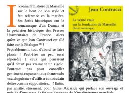 La vérité vraie sur la fondation de Marseille (Récit homérique), de Jean Contrucci, critique journal Ventilo janvier 2018