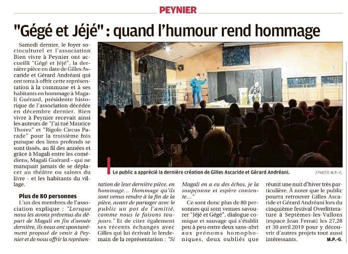 Gégé et Jéjé, pièce de Gilles Ascaride, article de La Provence sur la représentation à Peynier le 6 octobre 2018