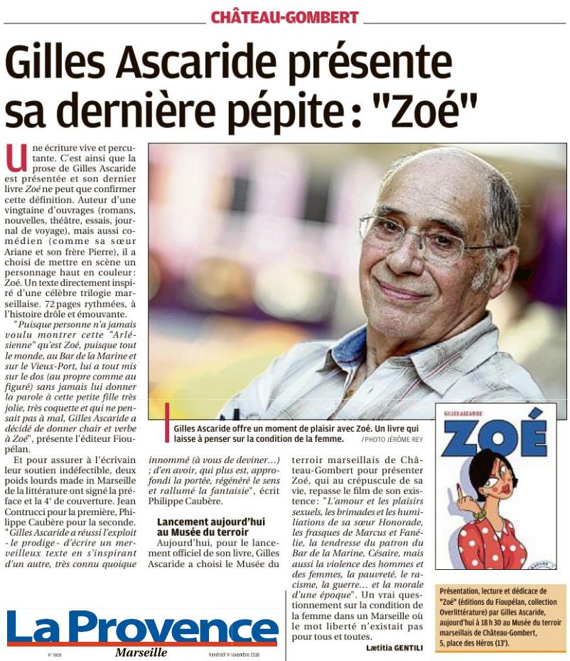 La Provence, article sur Zoé, de Gilles Ascaride, et la présentation officielle à Chateau-Gombert le vendredi 9 novembre 2018