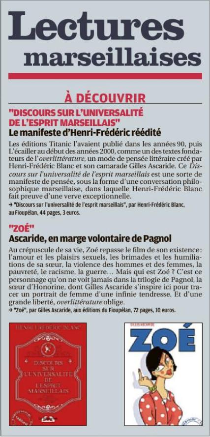 Gilles Ascaride et Henri-Frédéric Blanc, derniers ouvrages, article La Provence 11 décembre 2018