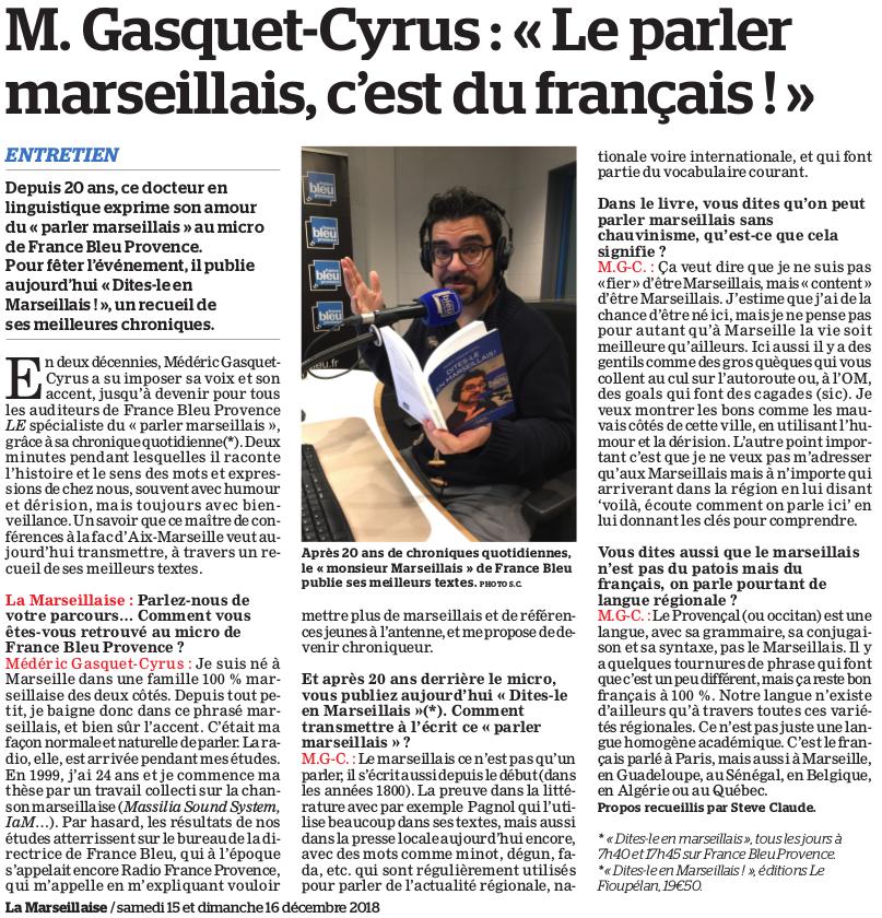 Médéric Gasquet-Cyrus, Le parler marseillais, c'est du français ! La Marseillaise du samedi 15 décembre 2018