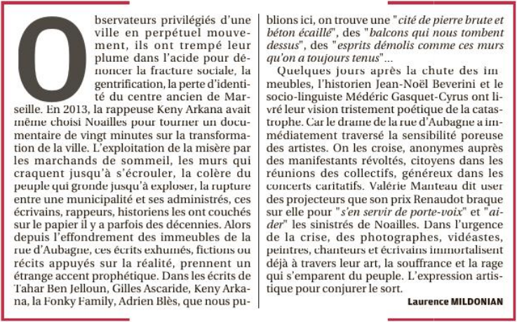 Drame de Noailles, ils l'avaient écrit, La Provence, Laurence Mildonian, lundi 17 décembre 2018