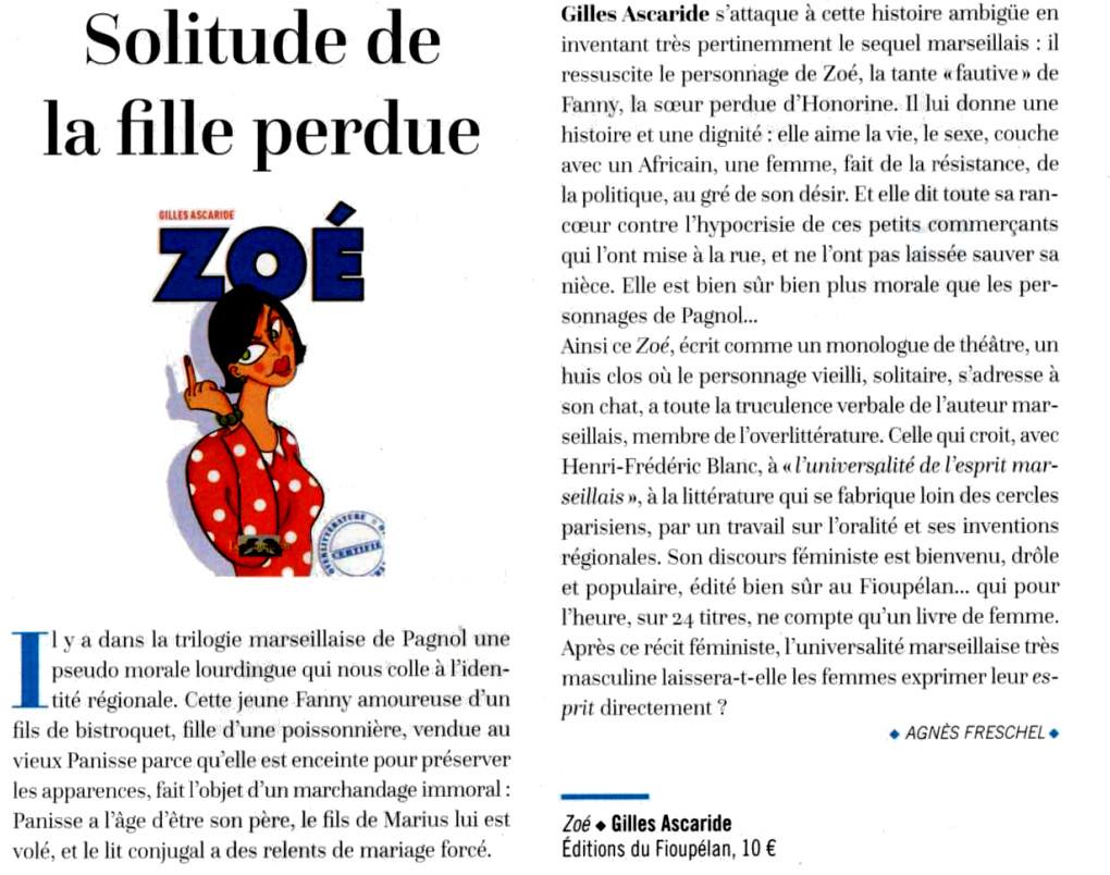 Gilles Ascaride, Zoé, critique Zibeline n° 17, 11 janvier 2019