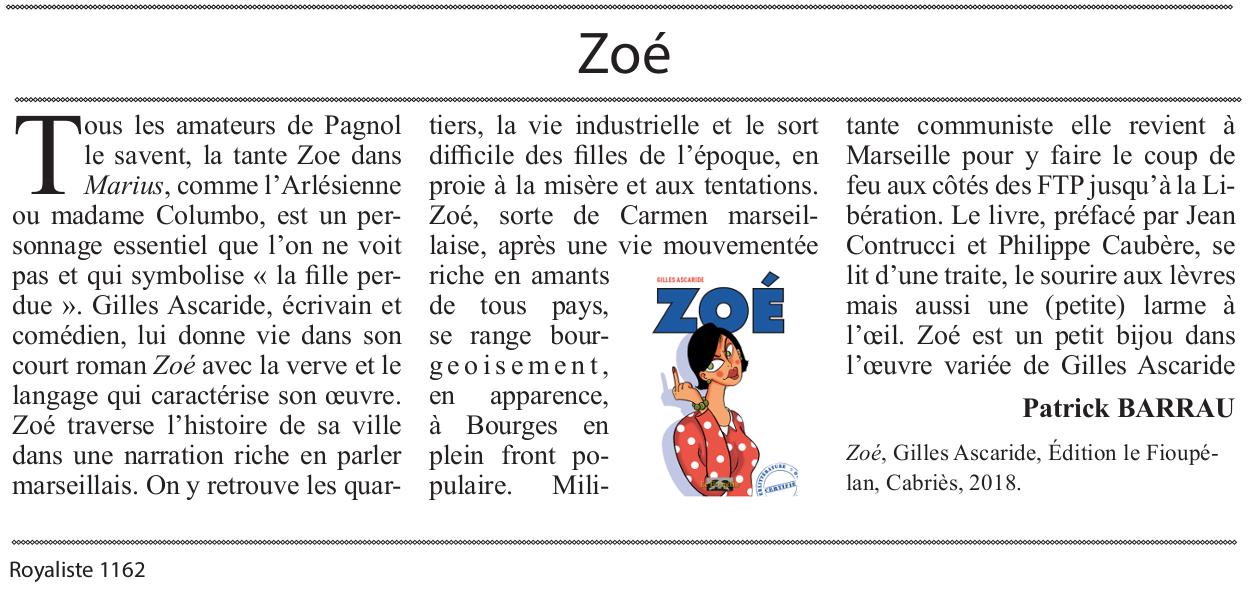 Zoé, de Gilles Ascaride, critique journal Royaliste, 25 février 2019