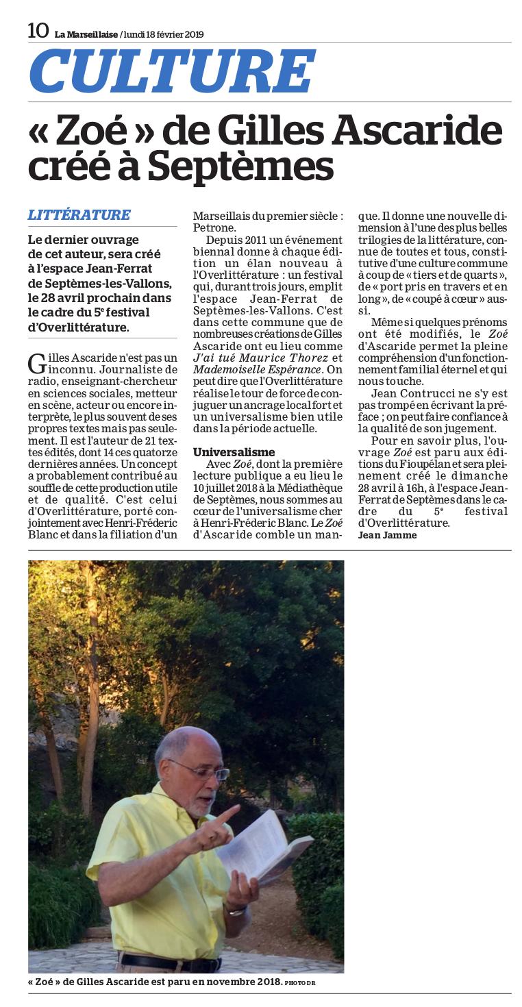 Zoé, de Gilles Ascaride, critique La Marseillaise 18 février 2019