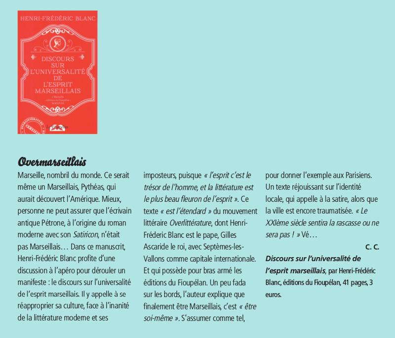 Discours sur l'universalité de l'esprit marseillais, Henri-Frédéric Blanc, critique dans le magazine Le Ravi n° 170, février 2019