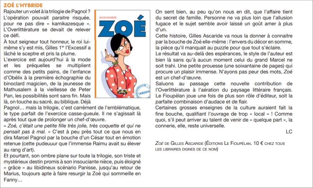 Zoé, Gilles Ascaride, critique dans le journal Ventilo n° 422 du 6 février 2019