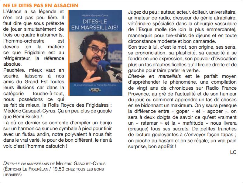 Dites-le en marseillais, Médéric Gasquet-Cyrus, critique dans le journal Ventilo n° 422 du 6 février 2019