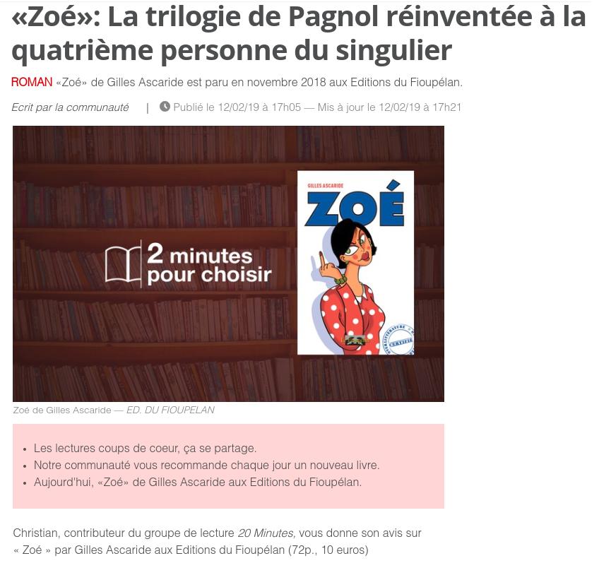 Zoé, de Gilles Ascaride, critique dans le journal 20 minutes le 12 février 2019