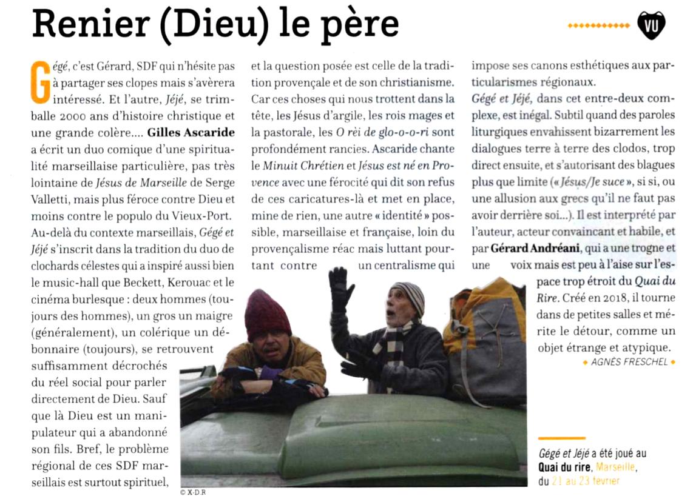Gégé et Jéjé, pièce de Gilles Ascaride, critique de Agnès Freschel dans Zibeline