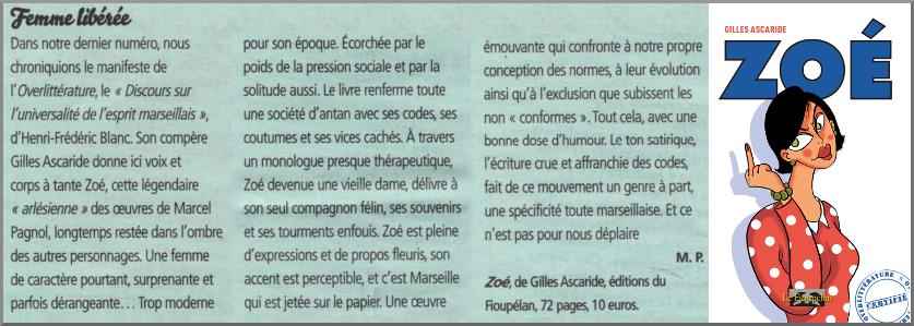 Zoé, de Gilles Ascaride, critique journal Le Ravi, 15 mars 2019