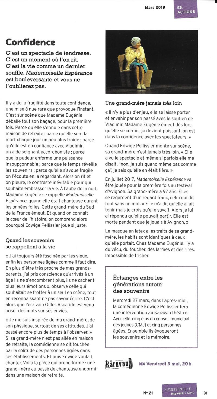 Mademoiselle Espérance, de Gilles Ascaride, au Karavan Théâtre à Chassieu, 3 mai 2019, article dans le magazine Chassieu Le MAG