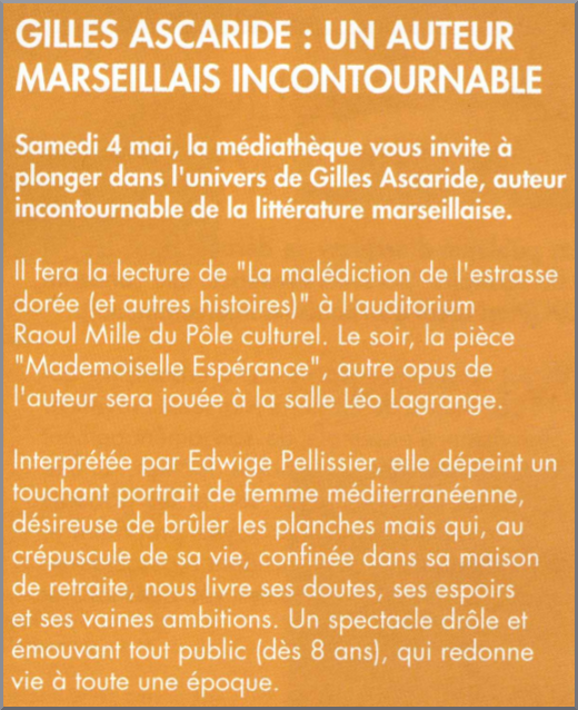 Gilles Ascaride, revue Vivre à Châteauneuf-les-Martigues à l'occasion de la journée du 4 mai 2019
