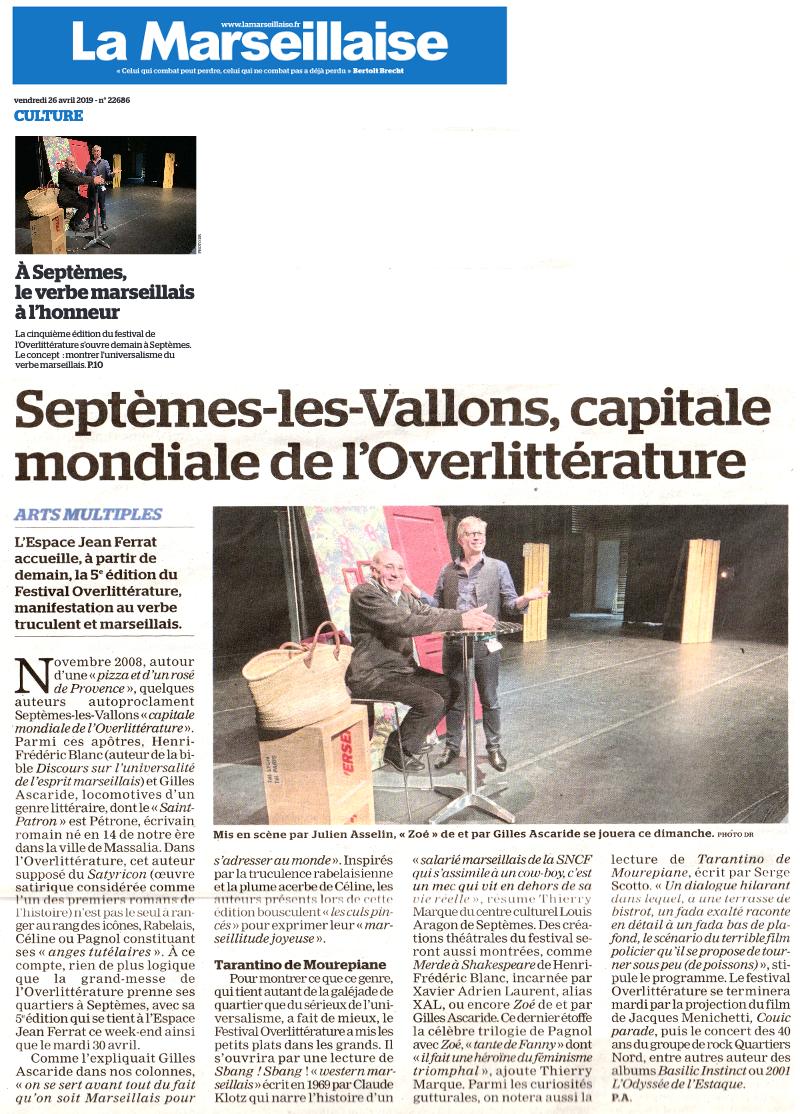 La Marseillaise 27 avril 2019, article sur le festival OverLittérature 2019