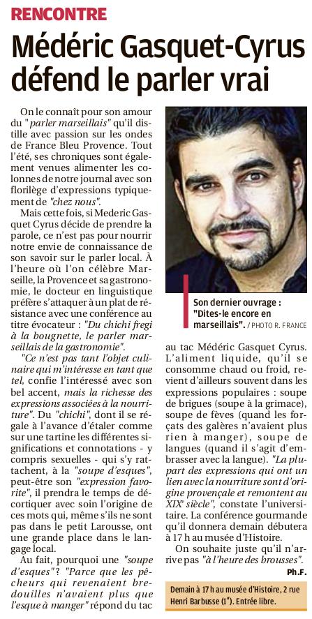Médéric Gasquet-Cyrus, La Provence, 11 novembre 2019