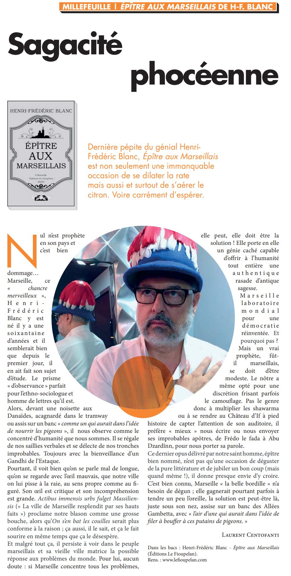 Henri-Frédéric Blanc, Épître aux Marseillais, Ventilo 22 janvier 2020