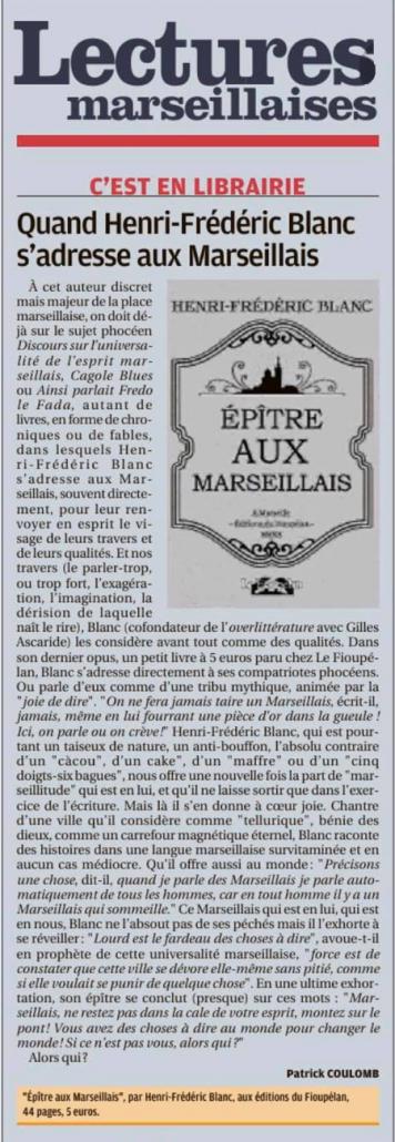 Henri-Frédéric Blanc, Épitre aux Marseillais, La Provence 7 janvier 2020