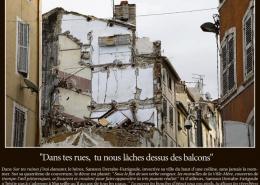 """Drame de Noailles, ils l'avaient écrit, La Provence, lundi 17 décembre 2018, """"Dans tes rues, tu nous lâches dessus des balcons"""", in """"Sur tes ruines j'irai dansant"""", de Gilles Ascaride"""